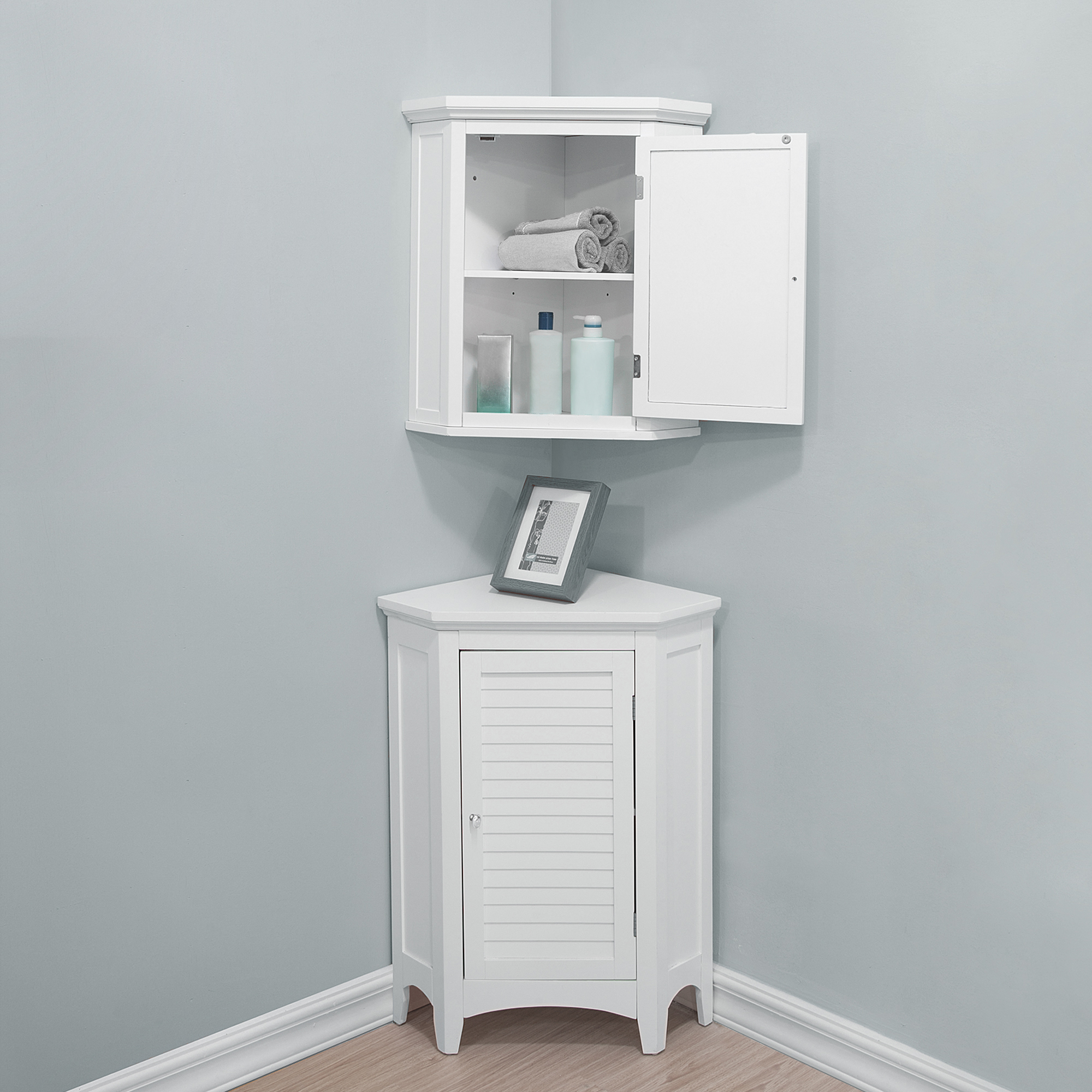 Elegant Home Fashions Bathroom Corner White Wooden Standing Cabinet Elg 586 Teamson Home Ireland